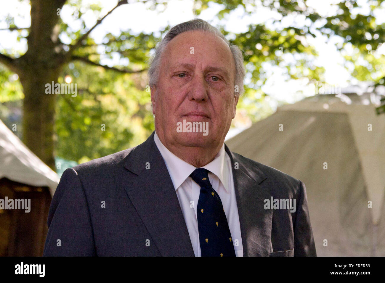 Frederick Forsyth, CBE, English author and occasional political commentator at the Edinburgh book festival event - Stock Image