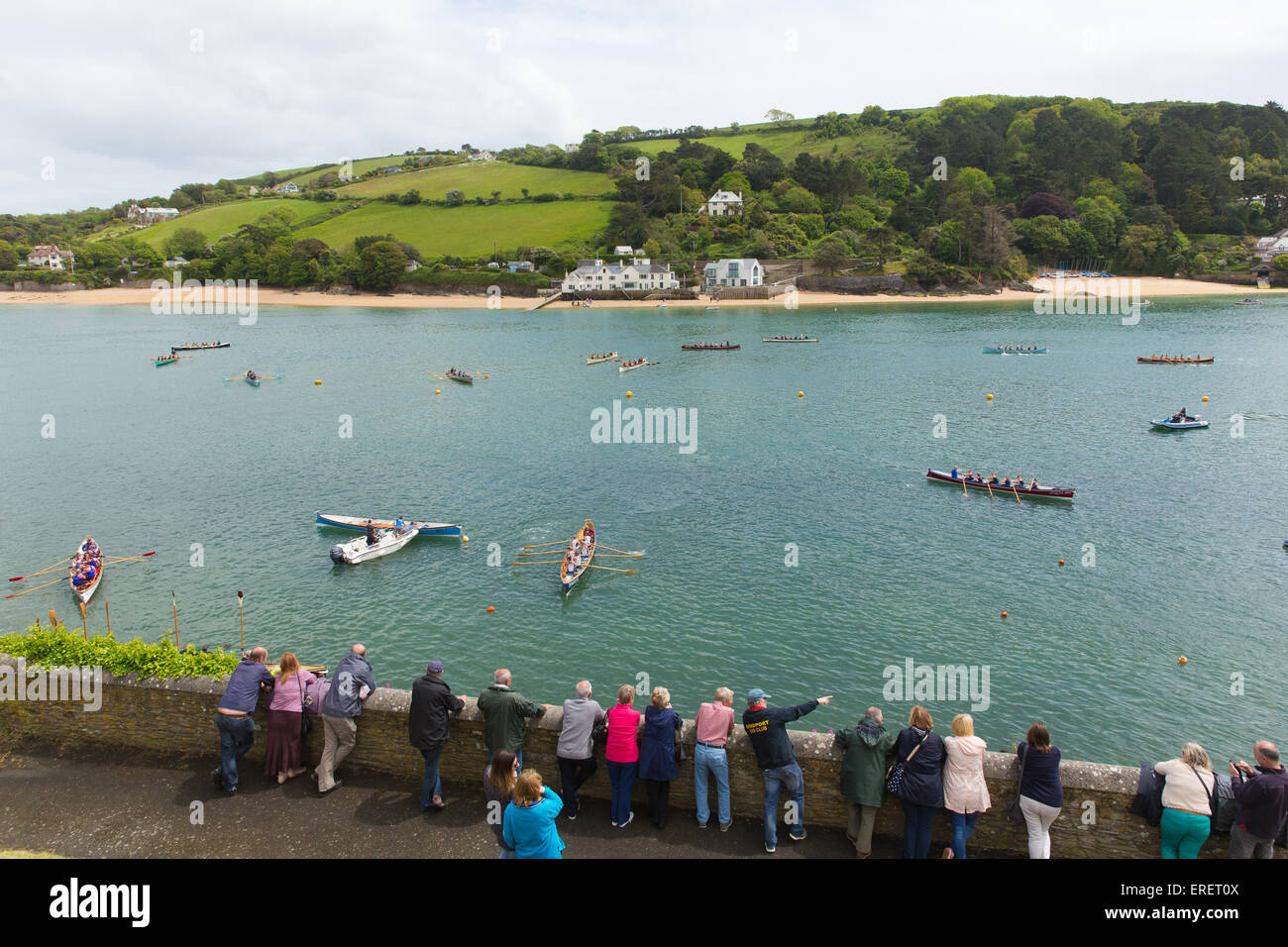 Pilot Gig boat racing rowing event at Salcombe Devon on Sunday 31st May 2015 - Stock Image