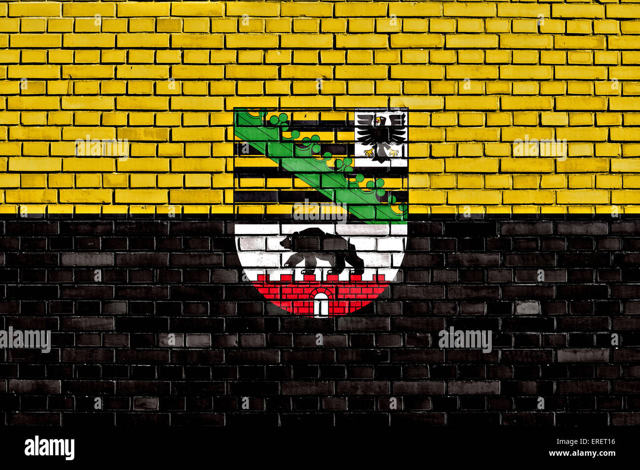 flag of Saxony Anhalt painted on brick wall - Stock Image