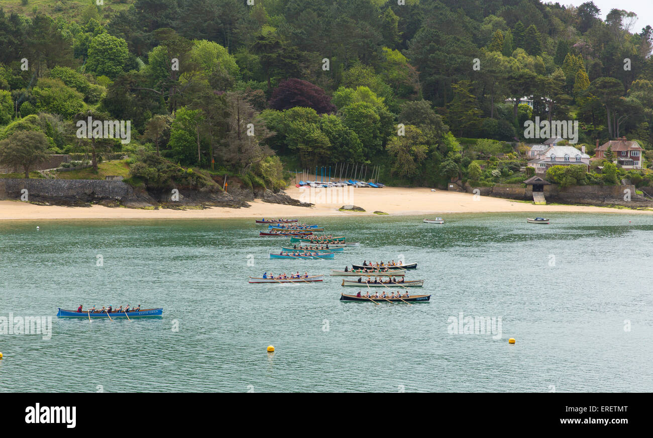Boat racing Cornish Pilot Gig rowing event at Salcombe Devon on Sunday 31st May 2015 - Stock Image