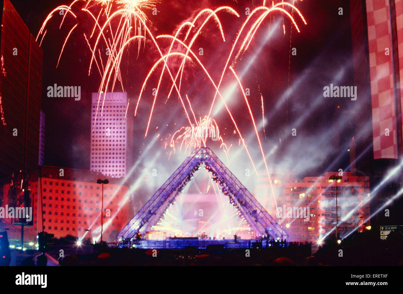 Spectacular concert given by French musician Jean-Michel Jarre at La  Défense, Paris. Bastille Day, 14 July 1990 Stock Photo - Alamy