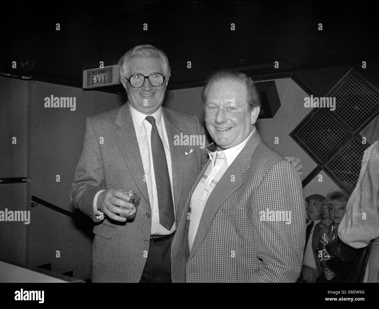 English businessman Jim Marshall, OBE  right, founder of Marshall Amplification, pictured at a private function - Stock Image