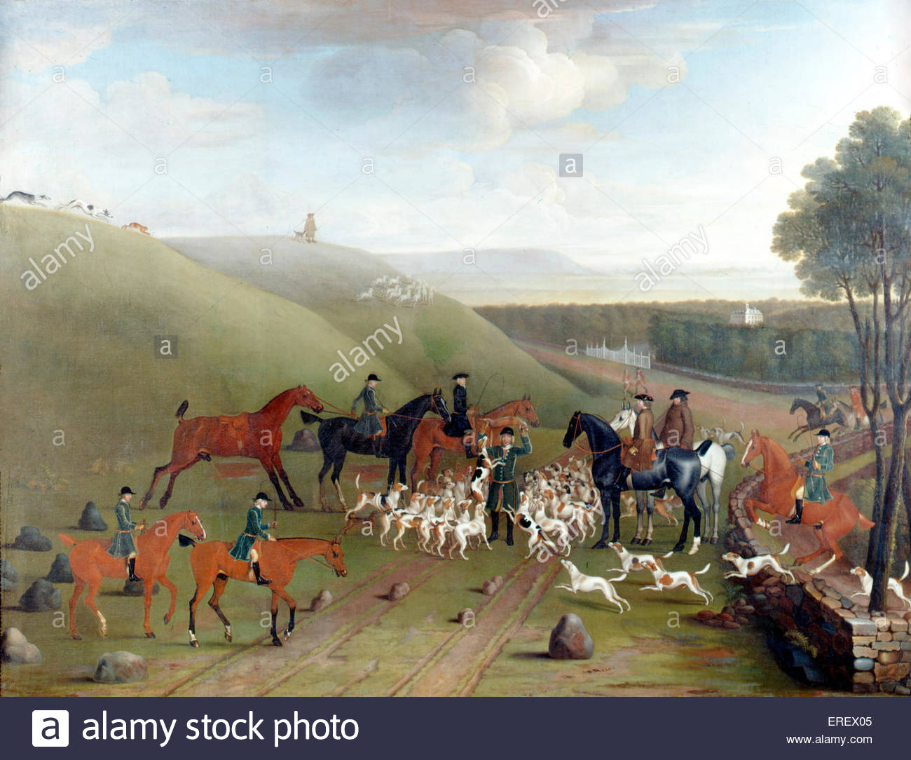 A Kill in Ashdown Park by James Seymour, 1743. Oil on canvas,  1803 x 2388 mm (support). JS: English painter,  1702–1752. - Stock Image