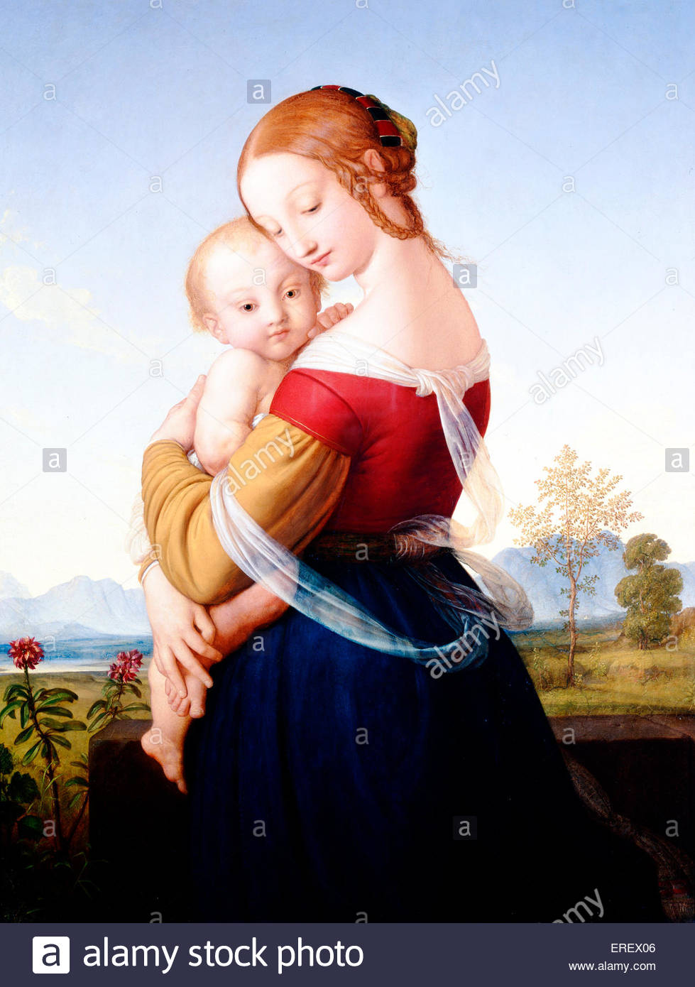 Madonna and Child by William Dyce, c. 1827-30. Oil on canvas, 1240 x 1010 x 57 mm. WD: Scottish artist, 19 September - Stock Image