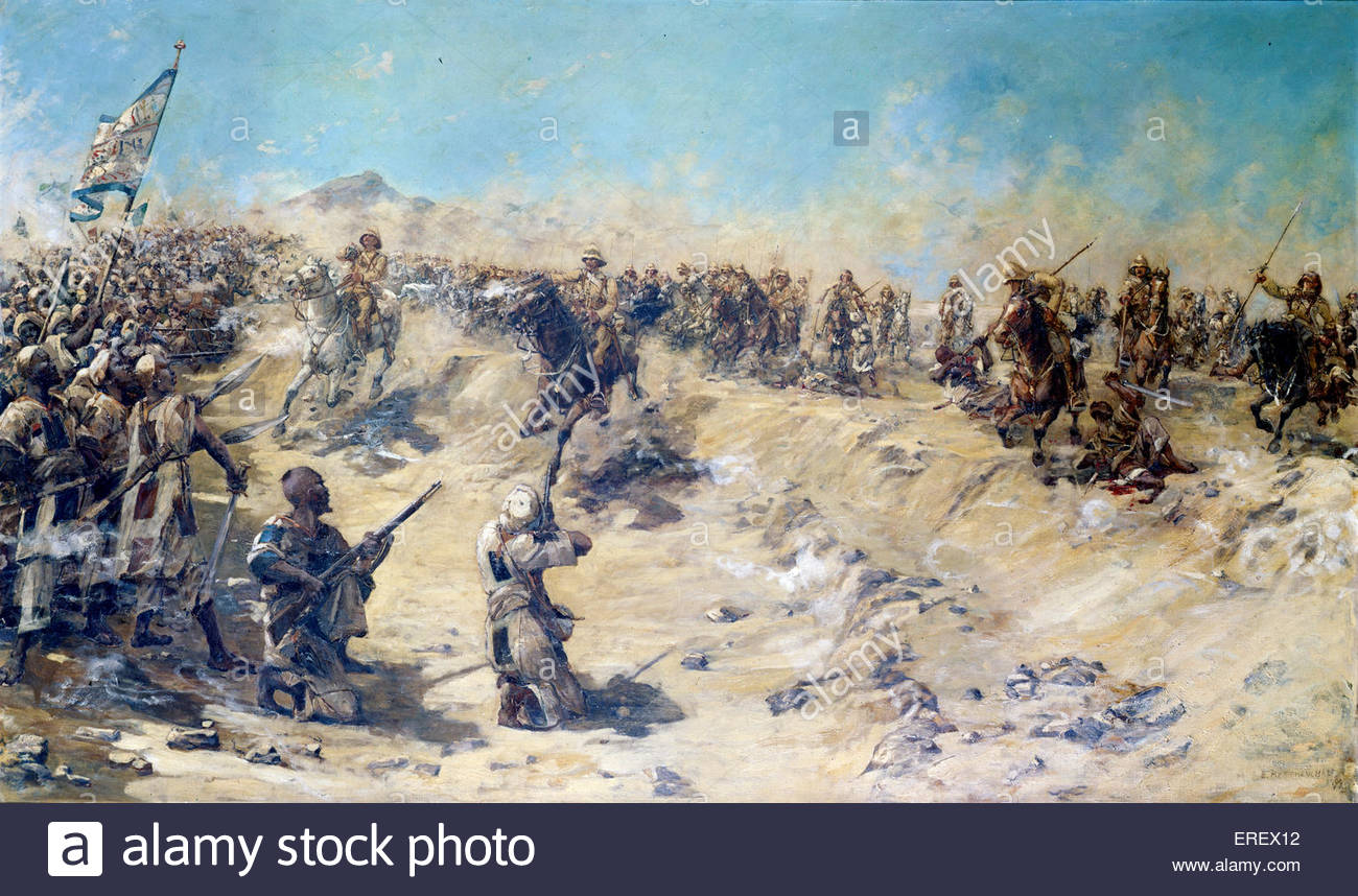 Charge of the 21st Lancers at Omdurman, 2 September 189 by Edward Matthew Hale, 1899. The charge was one of the - Stock Image
