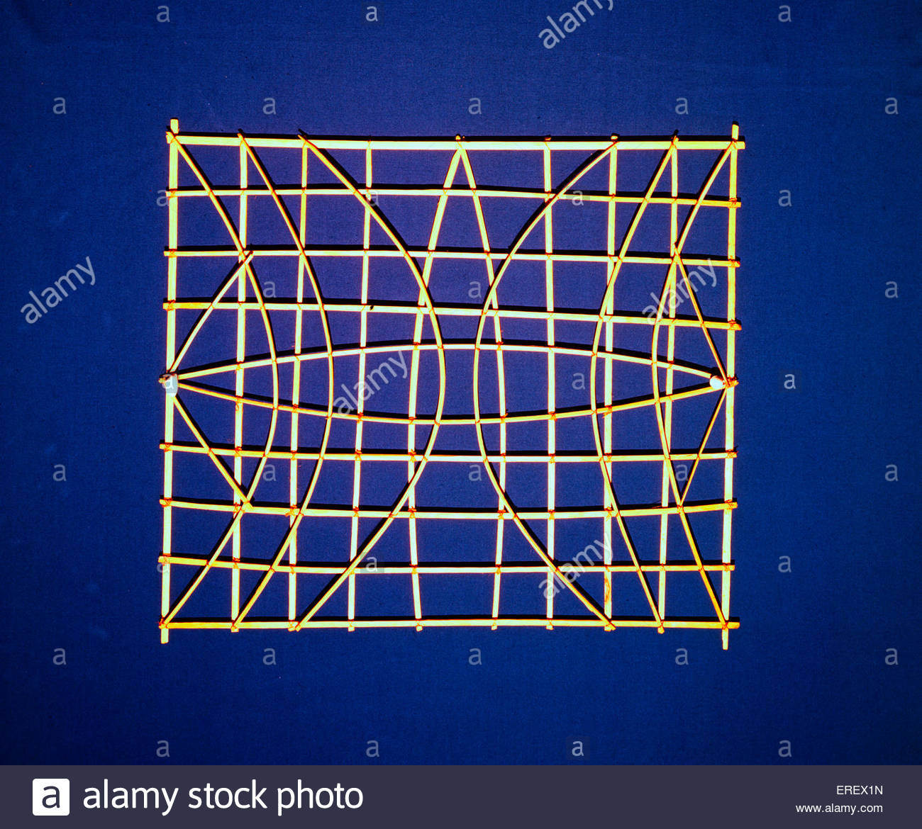 Polynesian Stick Chart  - navigation training device. Also known as a mattang. From the Marshall Islands, Micronesia. - Stock Image