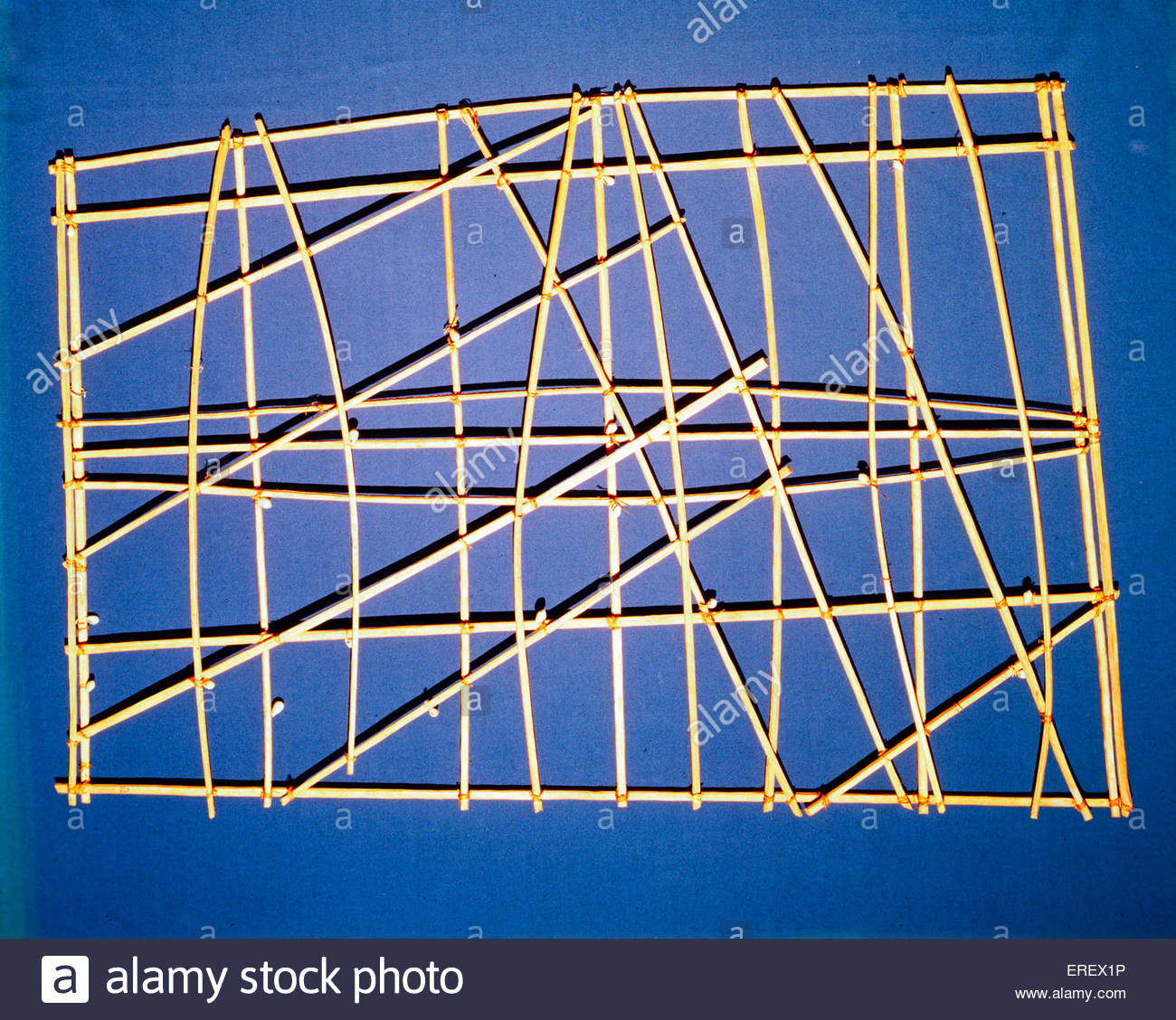 Polynesian Stick Chart  - navigation training device. Also known as rebbelib. From the Marshall Islands, Micronesia. - Stock Image