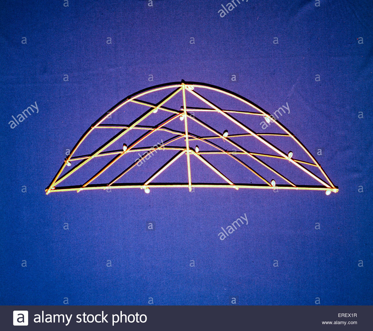 Polynesian Stick Chart  - navigation training device.  Charts were used to demonstrate and map the relationship - Stock Image