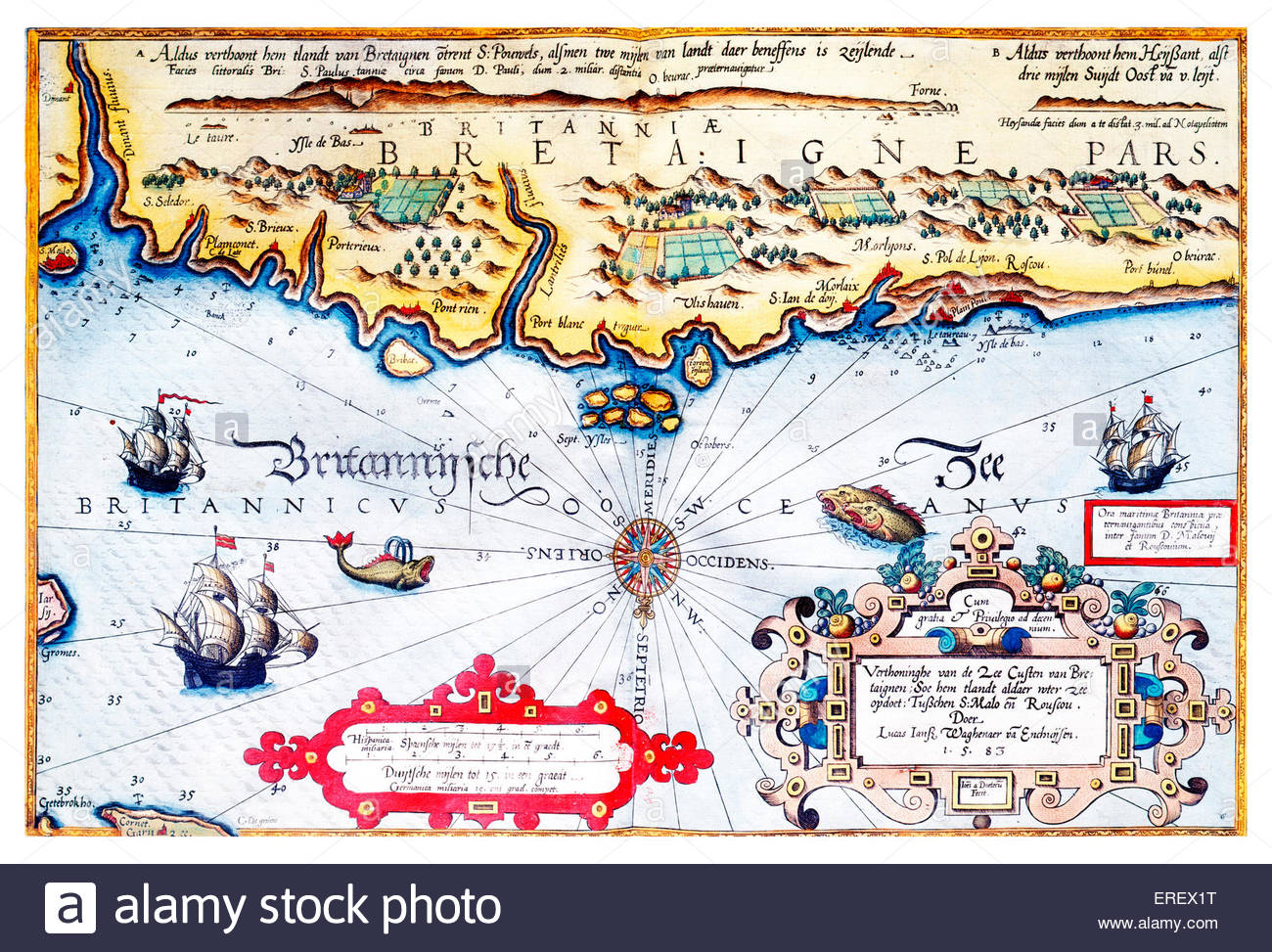 Navigation chart of Brittany coast by Lucas Jaszoon Wagenaer, 1583. Dutch chief officer and cartographer, 1533/34 - Stock Image