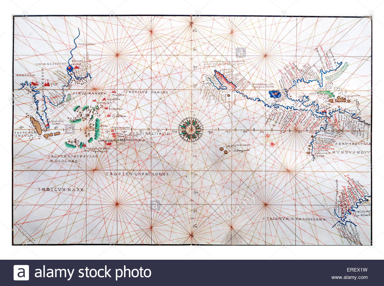 16th century navigation chart by Battista Agnese. Shows China, Ceylon (modern-day Sri Lanka) and the Philipines. - Stock Image