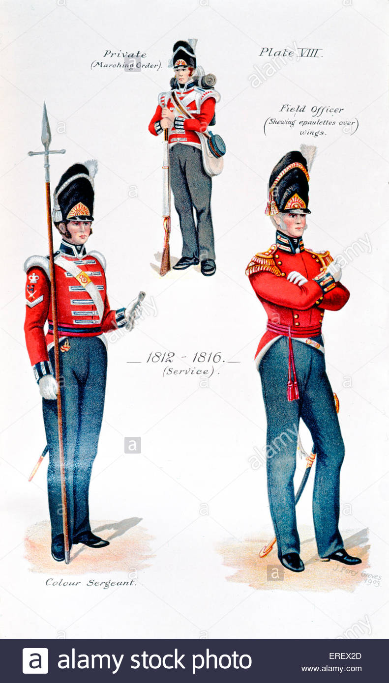 Royal Fusiliers - uniforms, 1812 - 1816. Illustration by J Percy Graves, 1903.  Private (top), Colour Sergeant (bottom - Stock Image