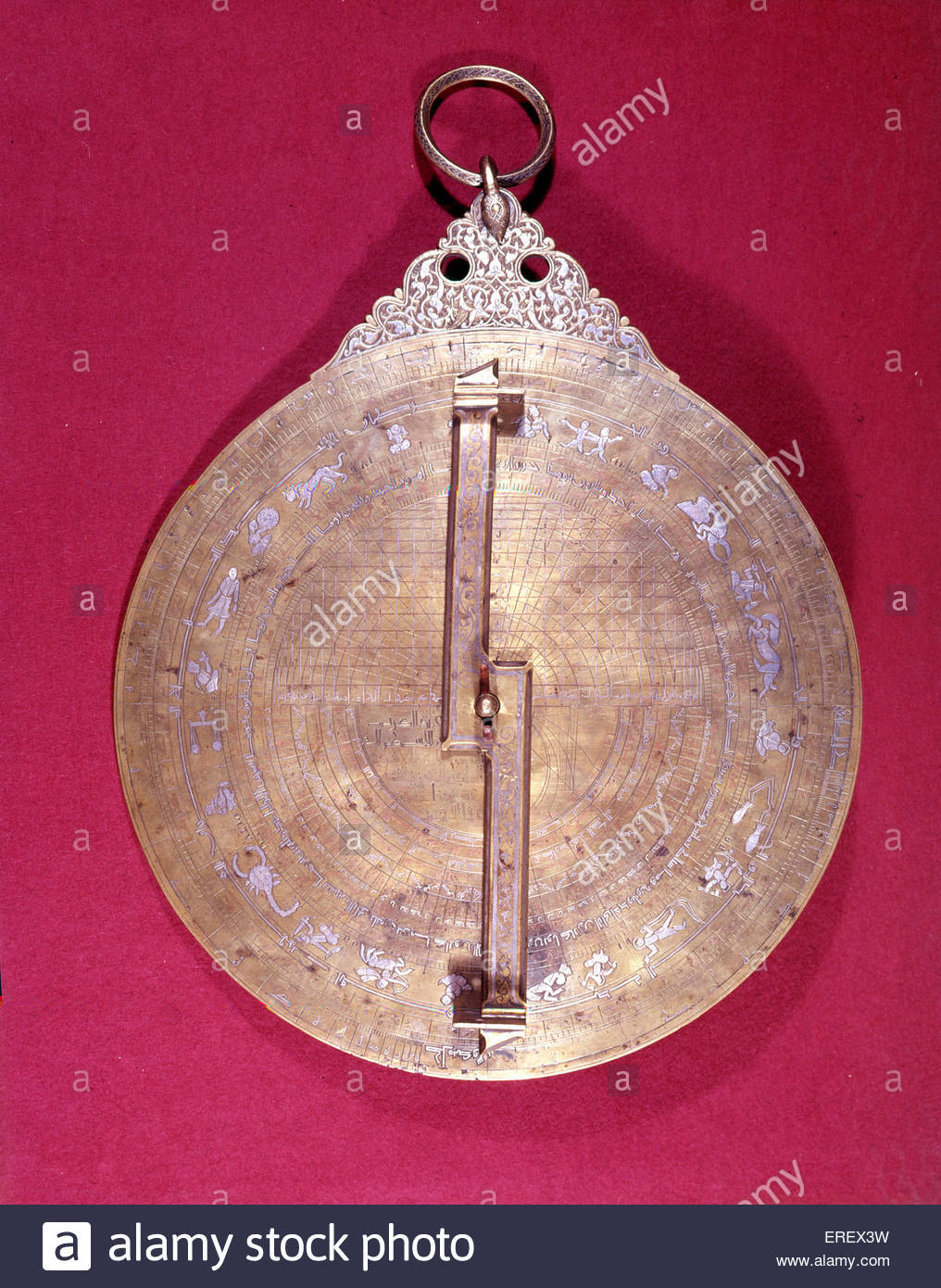 13th century astrolabe. Engraved with star map, showing revolving sighting bar.  Instrument   historically used - Stock Image