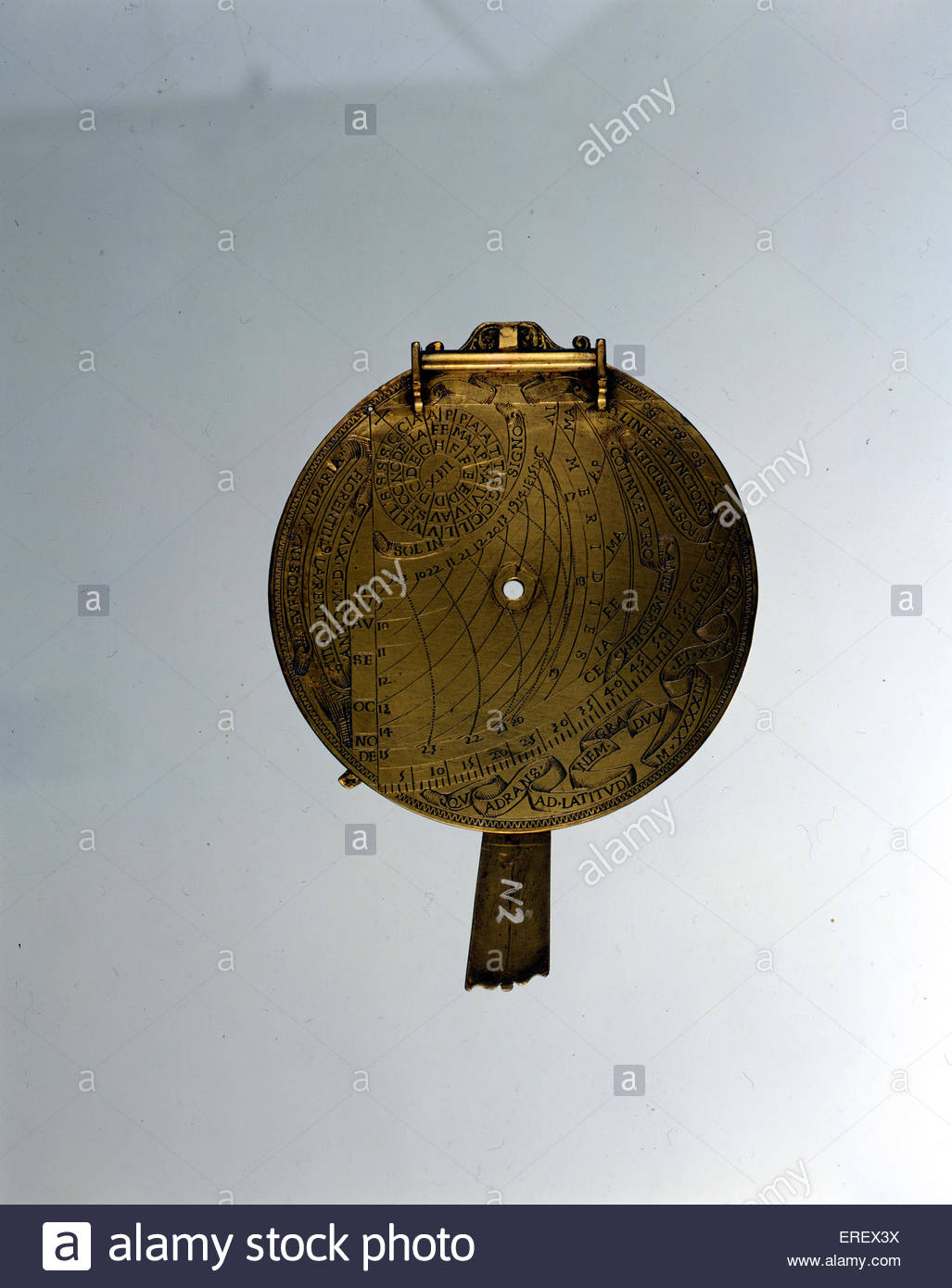 Italian astrolabe, dated 1516. Early navigational instrument used to calculate time at night by the stars. Courtesy - Stock Image
