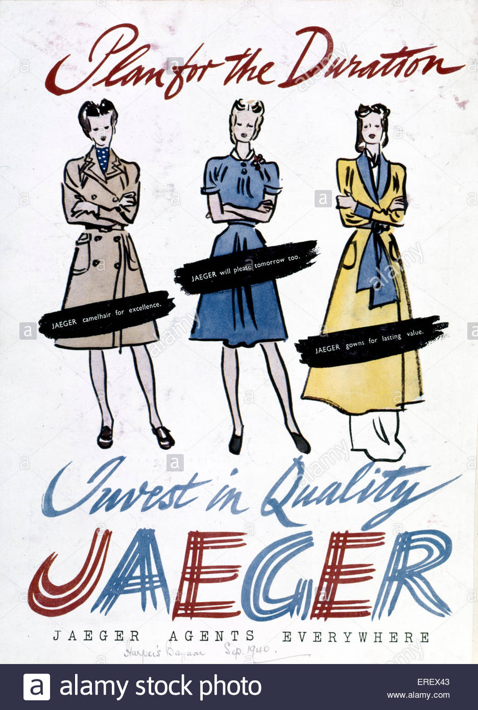 Jaeger Advertisement - Word War 2. Published in Harper's Bazaar, September 1940. Women 's fashion. Caption - Stock Image