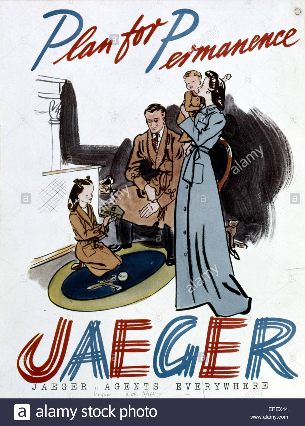 Jaeger Advertisement - Word War 2. Published in Vogue, October 1940. Women 's fashion. Caption reads: 'Plan - Stock Image