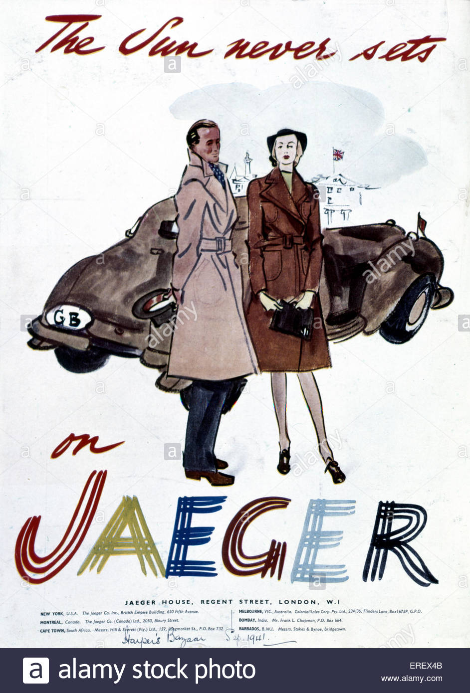 Jaeger Advertisement - Word War 2. Published in Harper's Bazaar, September 1941. Women 's fashion. Caption - Stock Image