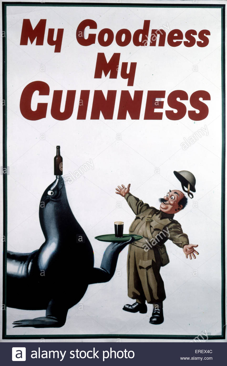 Guinness advertisement - World War 2. Showing sealion serving a solider Guinness. - Stock Image