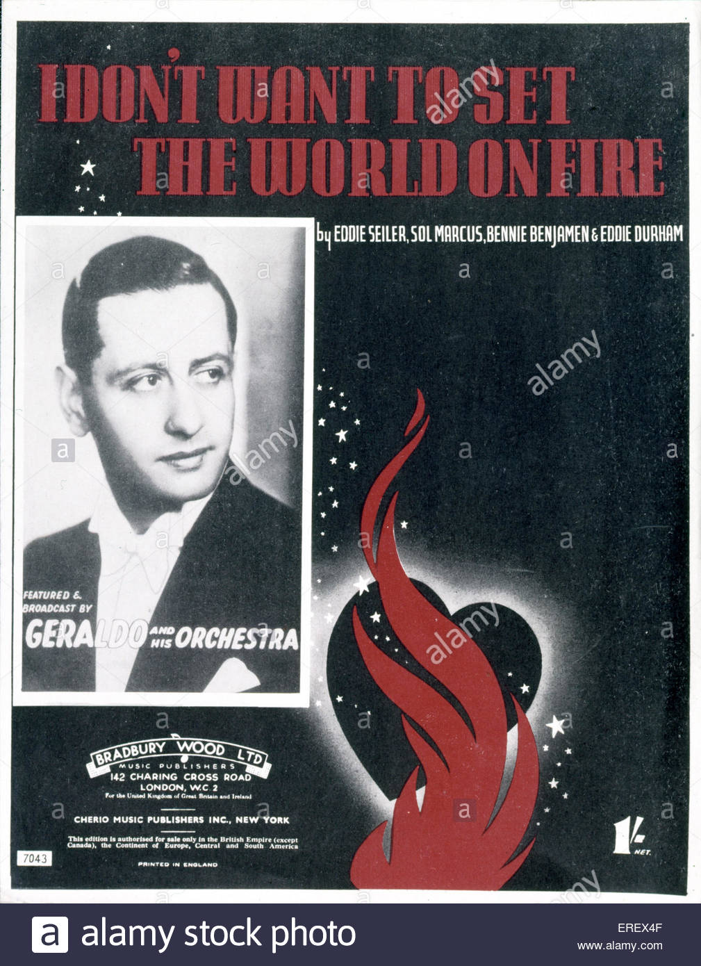 I Don't Want to Set the World on Fire' - song score cover. World War 2. Written by Eddie Seller, Sol Marcus, - Stock Image