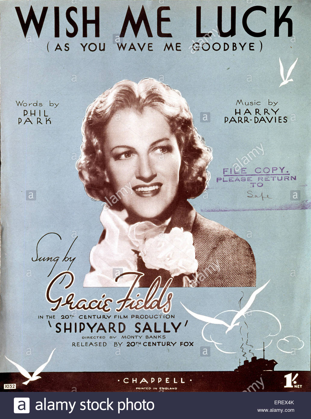 Shipyard Sally (1939 film) - score cover to song 'Wish Me Luck (As you Wave Me Goodbye)'. Performed by Gracie - Stock Image