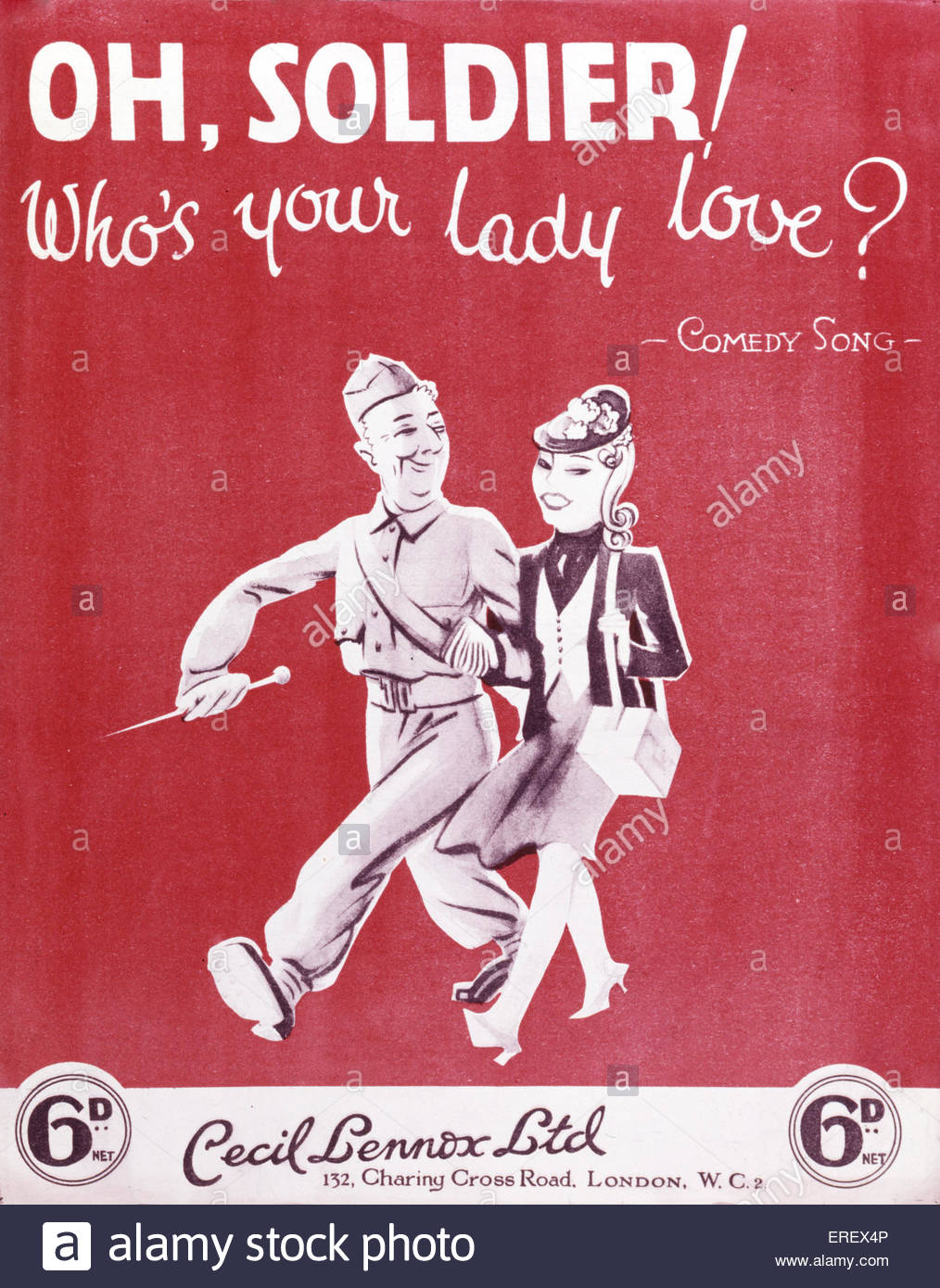 'Oh, soldier! Who's your lady love?' -  score cover to World War 2 song. Published by Cecil Lennox Ltd. - Stock Image