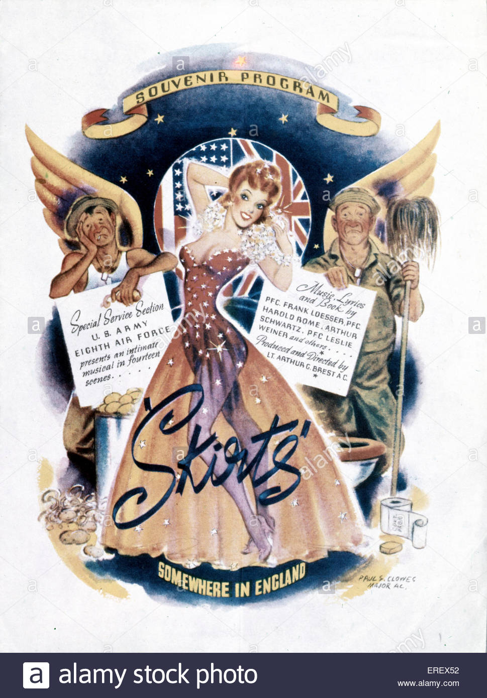 Skirts - World War 2 musical review. Souvenir Programme.  Presented  by U.S Army Eighth Air Force . Performed in - Stock Image