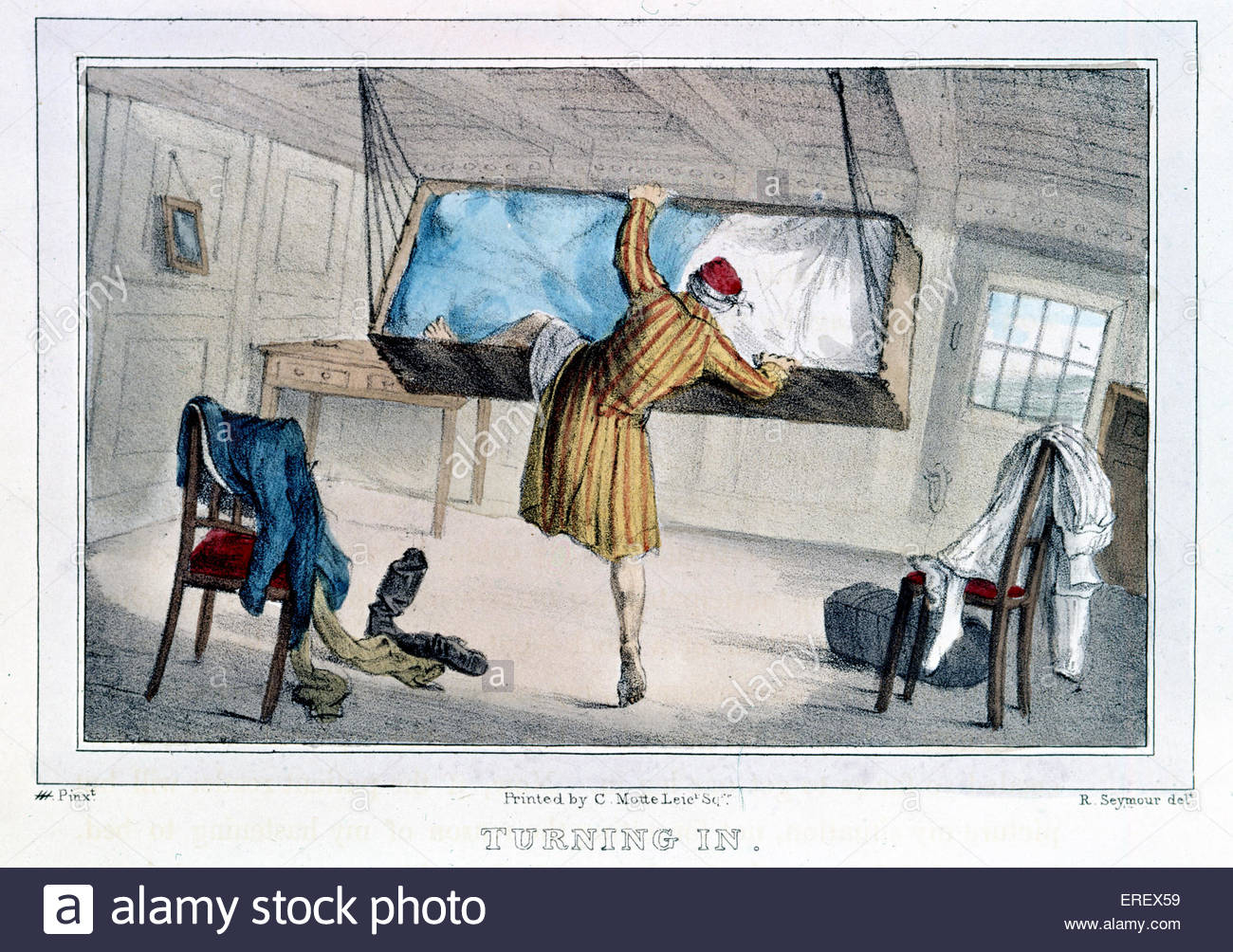 'Turning In  - naval caricature, 1831. Quarters of high- ranking British officer on ship. Printed in London. - Stock Image