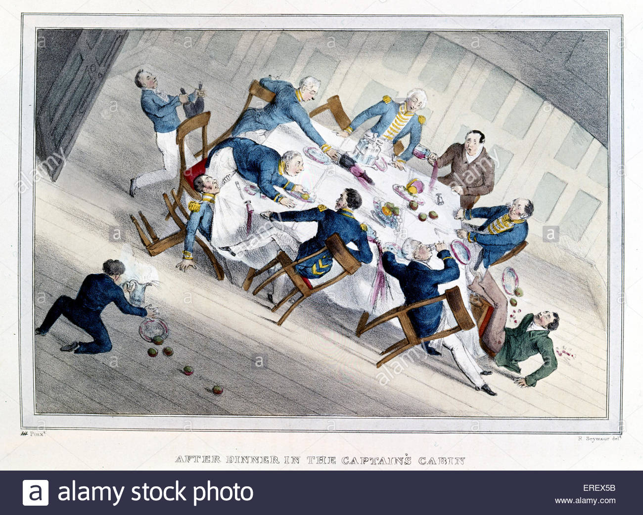 'After dinner in the Captain 's cabin' - early 19th century naval caricature.  Quarters of high- ranking - Stock Image