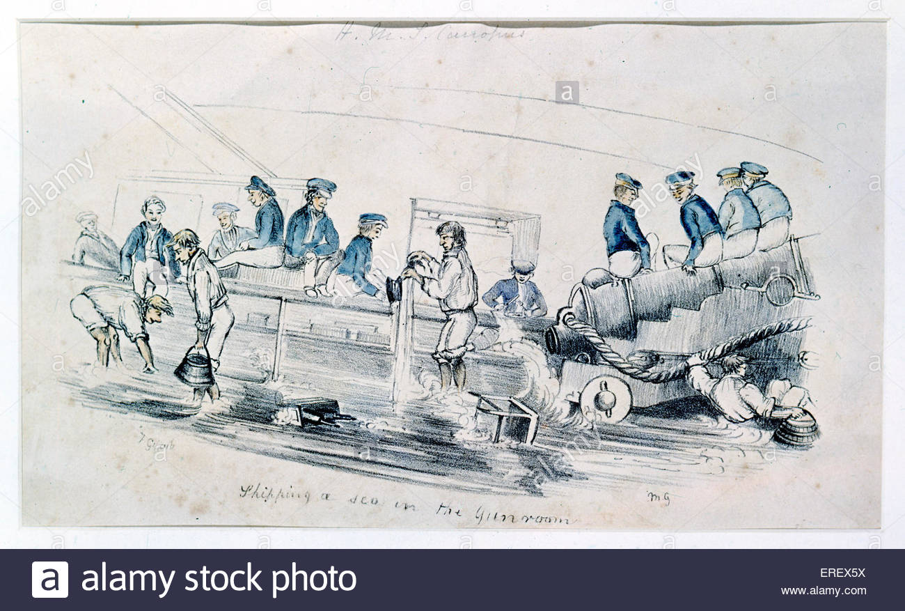 Sailors in gun room - naval cartoon. Date unknown. - Stock Image