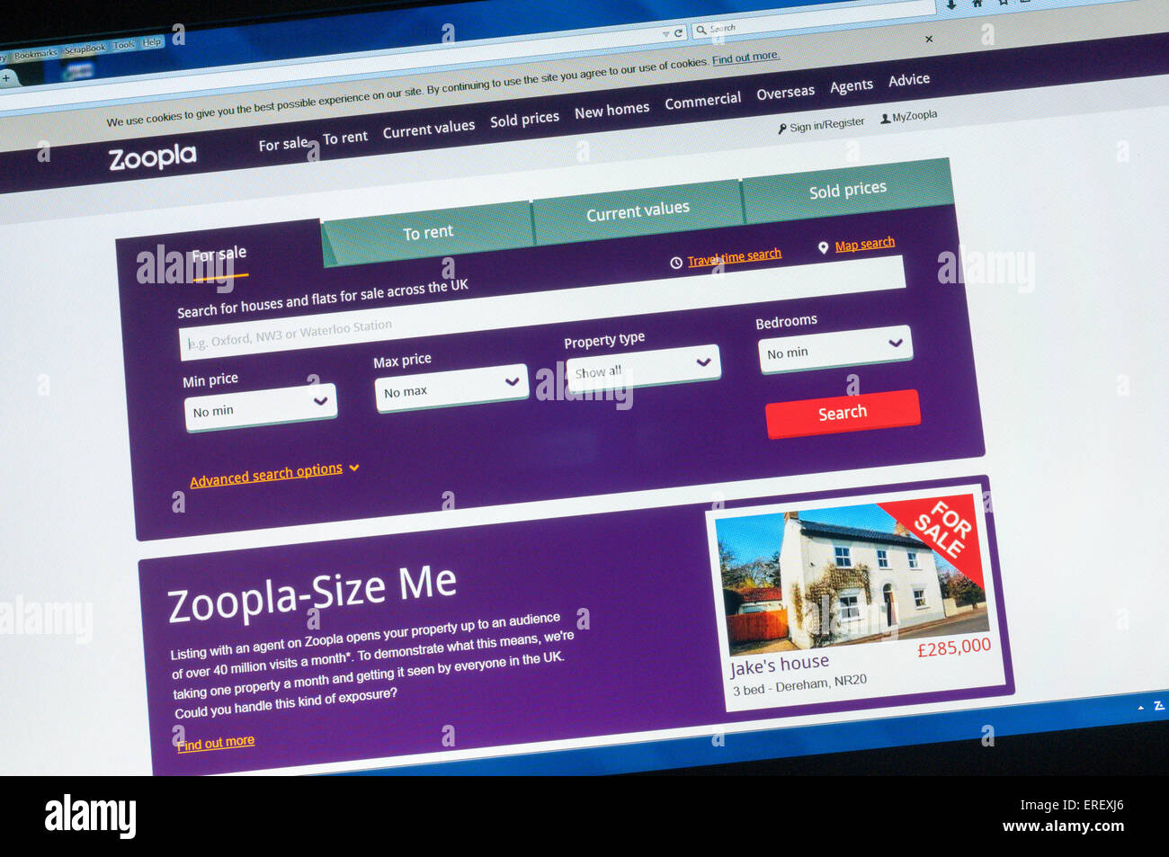 The home page of the Zoopla estate agency website. - Stock Image