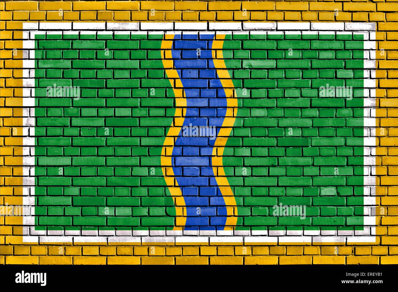 flag of Andorra la Vella painted on brick wall - Stock Image