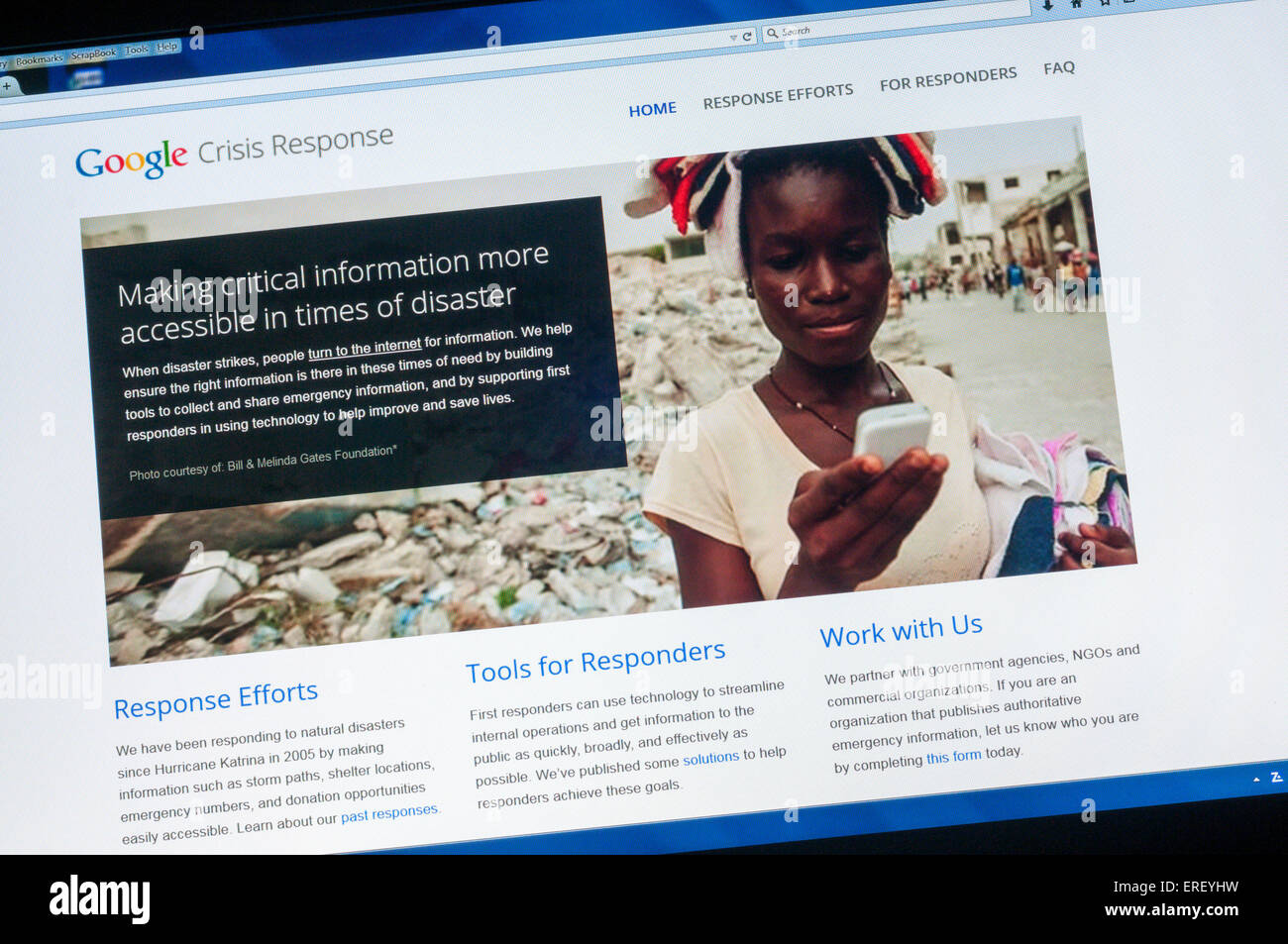 The home page of the Google Crisis Response web site. - Stock Image