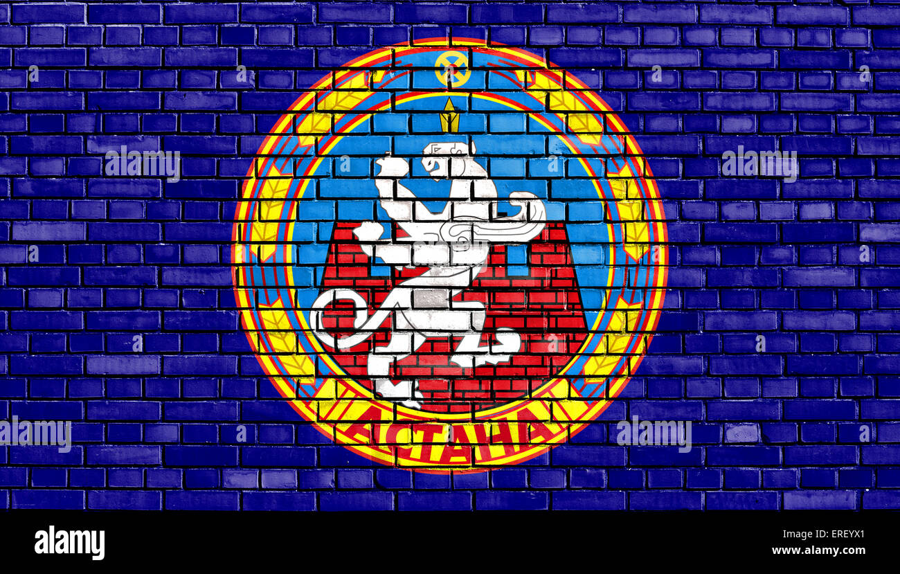flag of Astana painted on brick wall - Stock Image