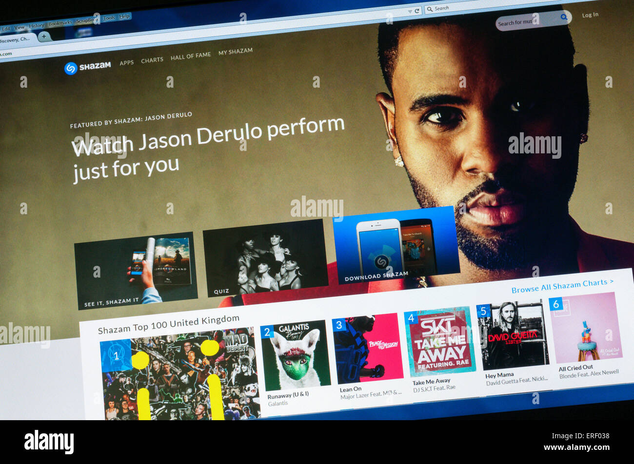 The homepage of the website for the music recognition app Shazam. - Stock Image