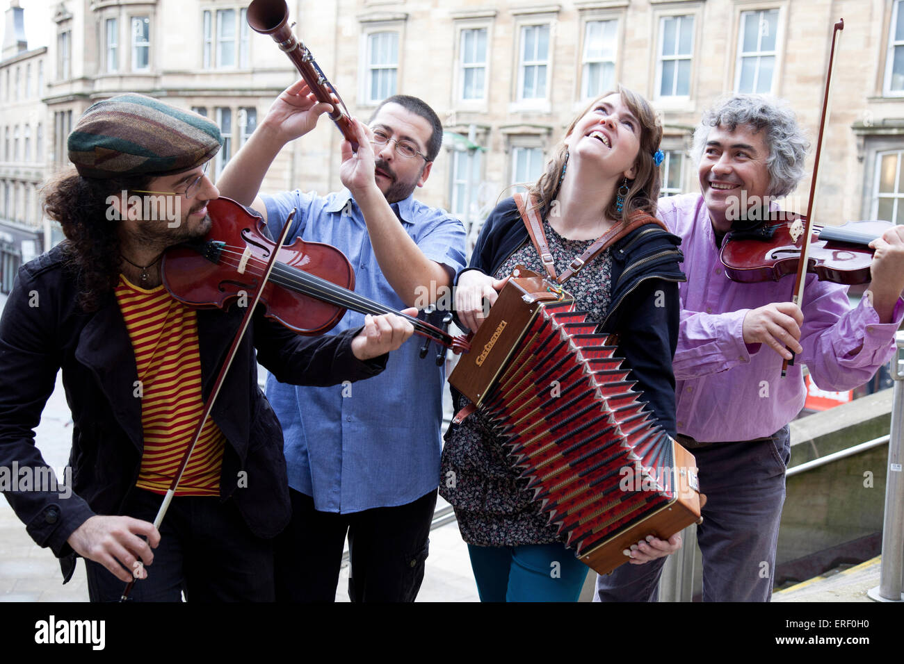 Sol i Serena - Spanish folk band. Photographed at  Celtic Connections 2012 press launch in Glasgow, 25 October 2011. - Stock Image