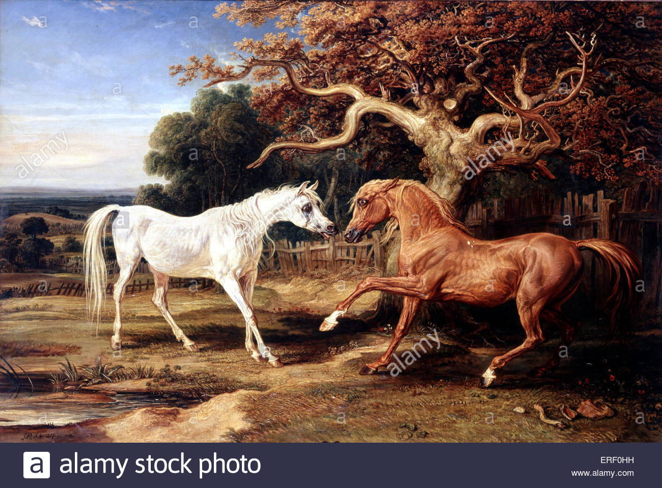 L'Amour de Cheval by James Ward, 1827. Oil painting, 1448 x 2126 mm. JW: English painter, 23 October 1769 – - Stock Image