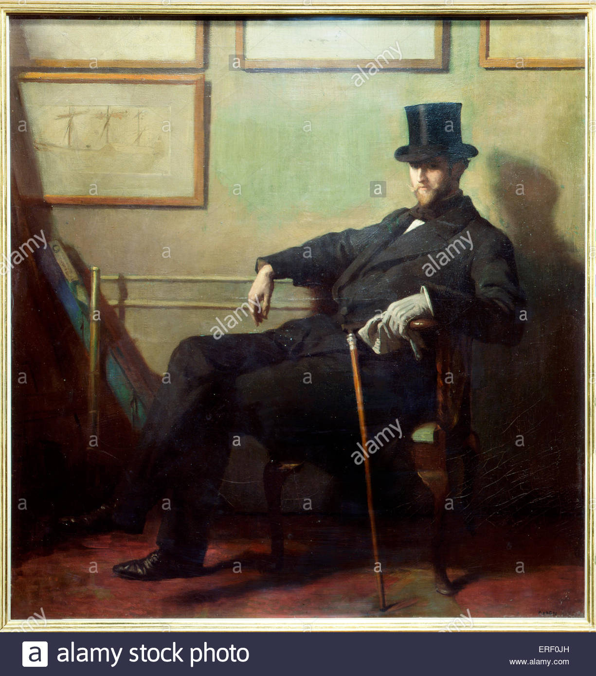 Herbert Barnard John Everett by Sir William Orpen, c. 1900. HBJE: English painter, 1876–1949. Courtesy of the National - Stock Image