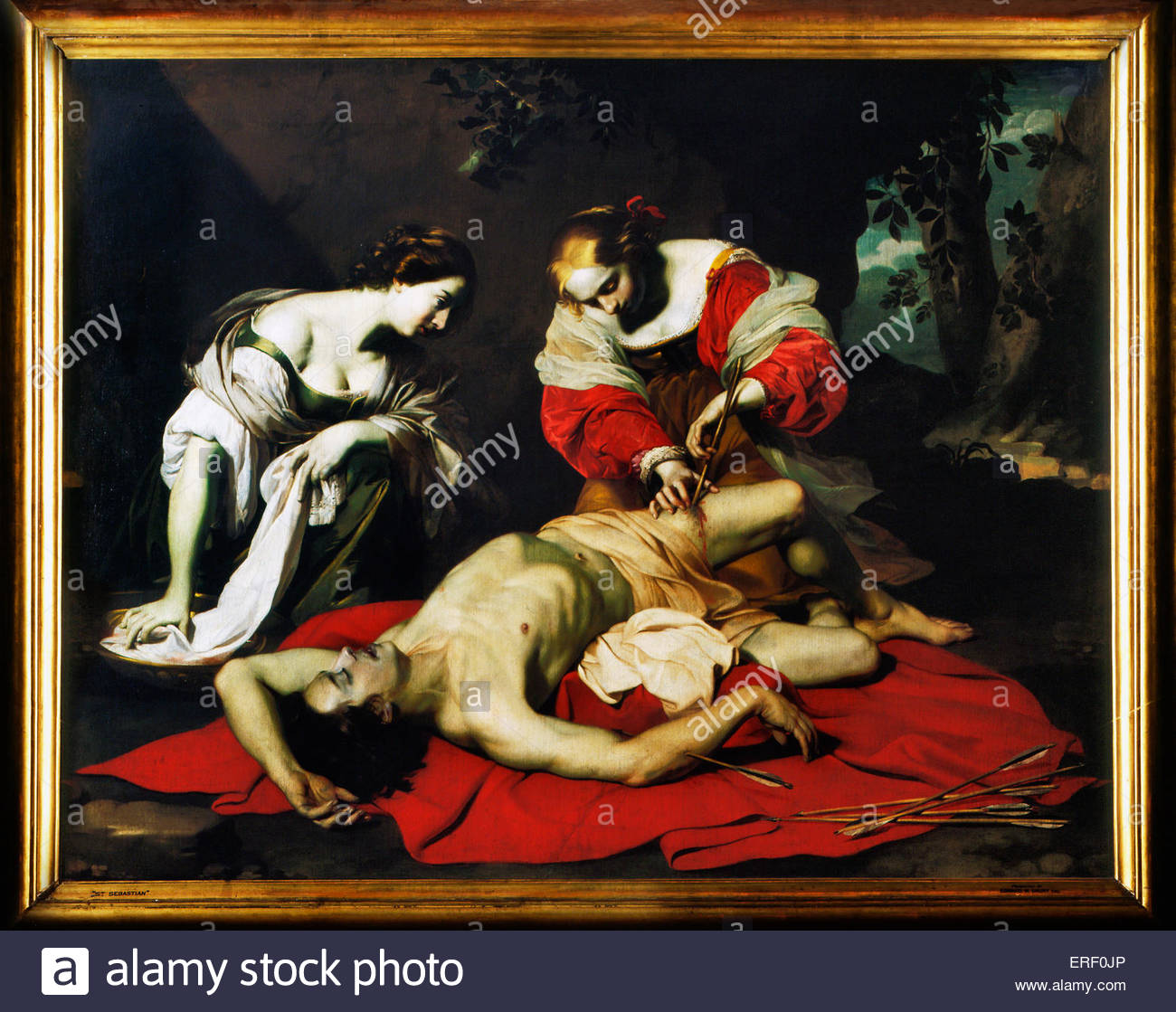 St. Sebastian tended by Holy Irene by Niccolo Renieri. Flemish painter and art collector, 1591–1667.  Also known - Stock Image