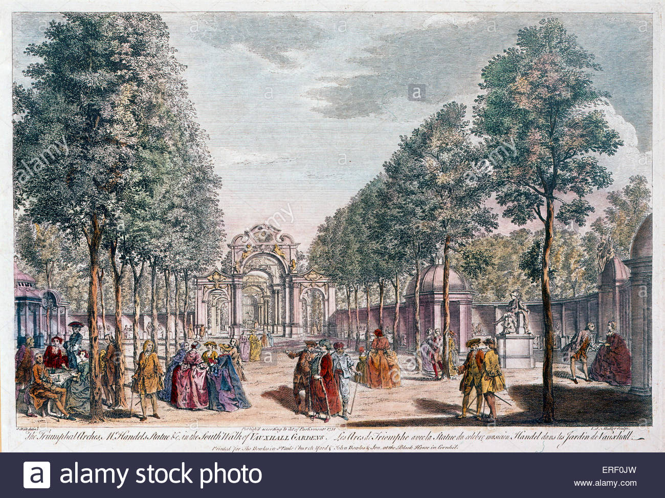 Vauxhall Gardens - 'Triumphal arches' with statue of George Handel on right in the South Walk.  From engraving - Stock Image