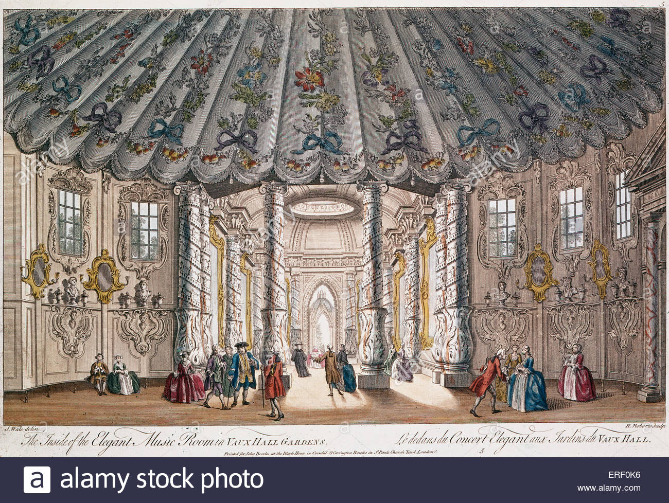 'The Inside of the Elegant Music Rooms at Vauxhall Gardens' ('Le dedans du Concert Elegant aux Jardins - Stock Image