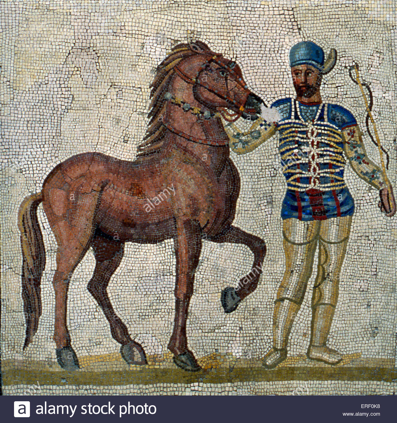 Roman charioteer - 2 nd/ 3rd century A.D mosaic panel. - Stock Image
