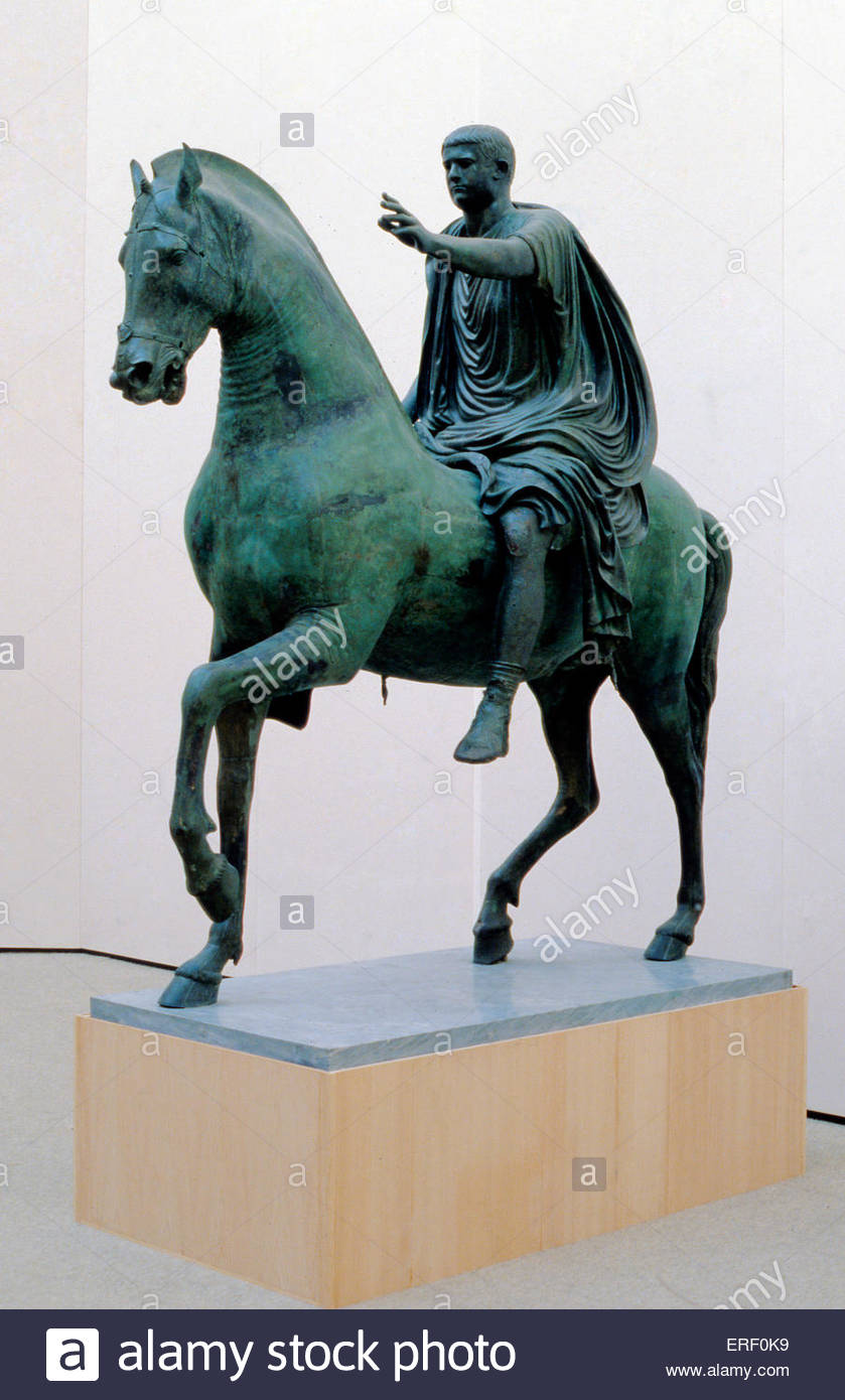 Horse and rider from Miseno: the Emperor Nerva. Roman bronze, 1st cetury A.D. N: Narcus Cocceius Nerva Caesar Augustus, - Stock Image