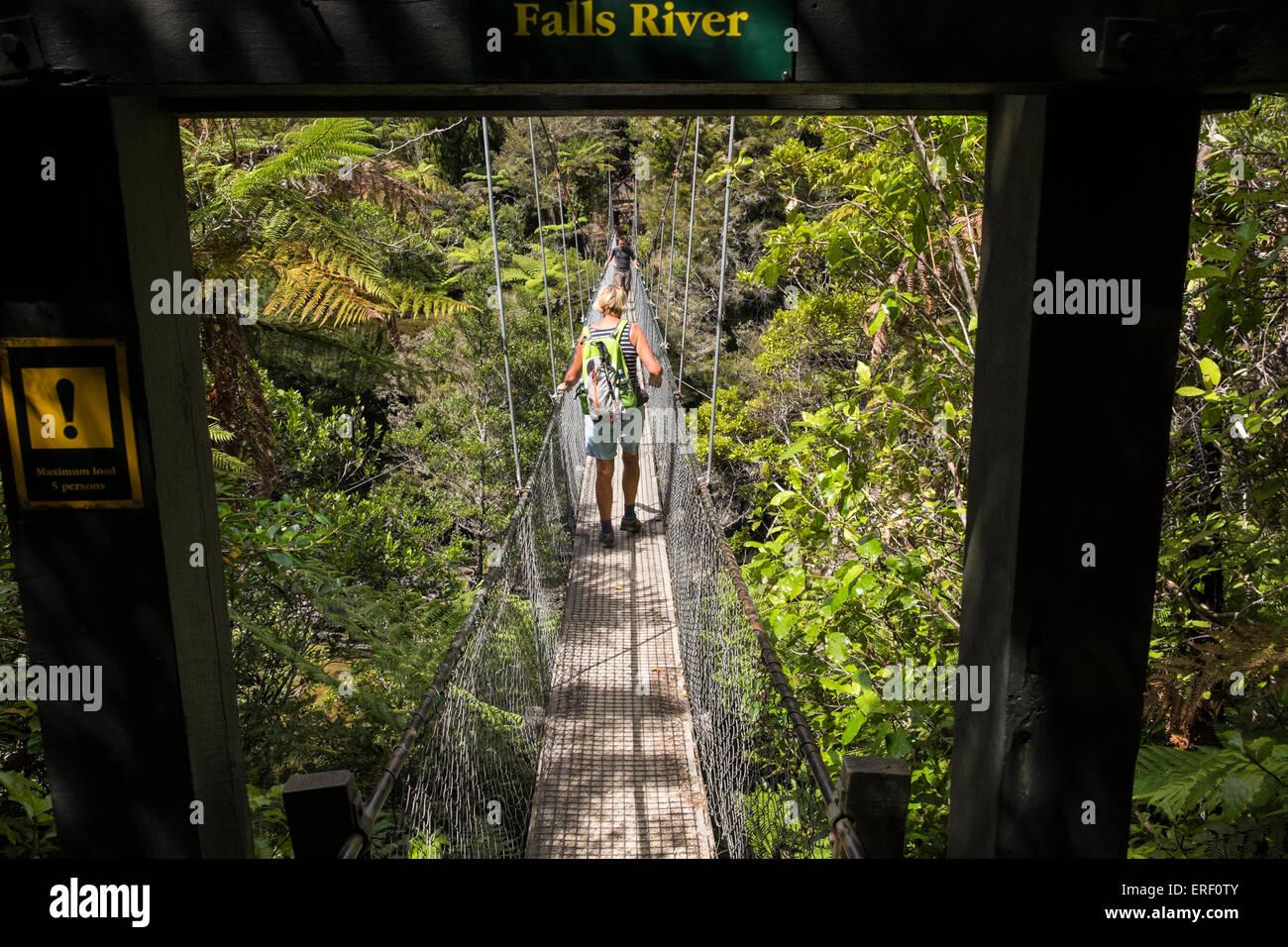 Walkers on the swingbridge over the Falls River along the Abel Tasman coastal track in New Zealand. - Stock Image
