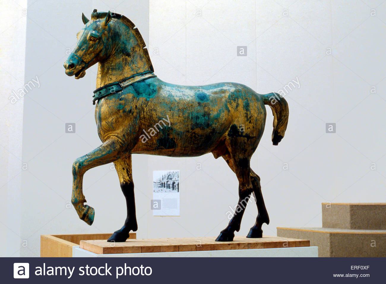 Horses of San Marco - one of four bronze horses originally part of quadriga (four-horse carriage used for chariot - Stock Image