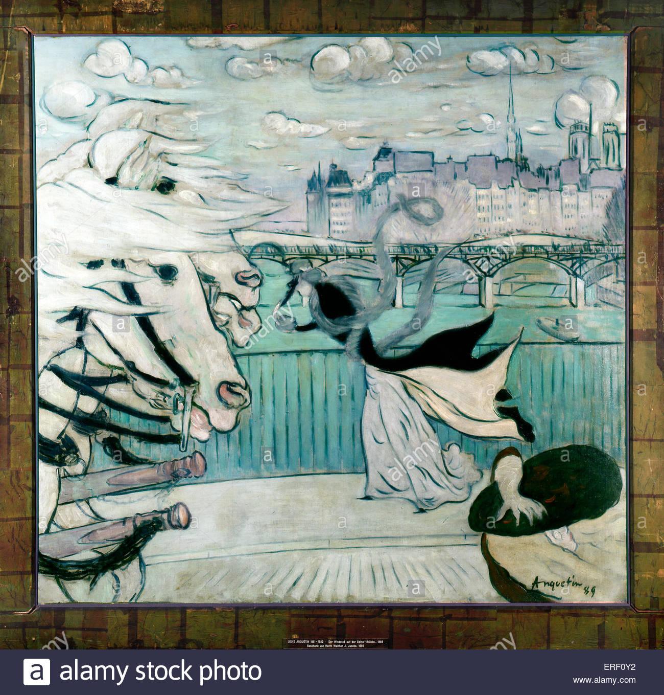 Der Windstoß auf der Seine Brücke 1889 ('Gust of Wind: Bridge over the Seine')  by Louis Anquetin. - Stock Image