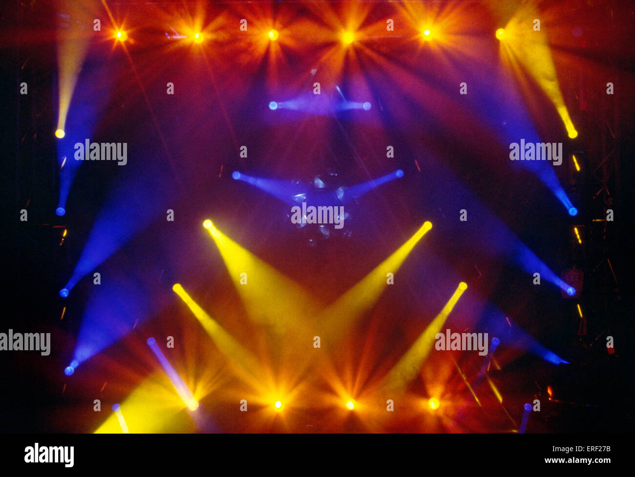 Blue and yellow stage lights - demonstration at the annual Frankfurt Music Fair, Germany. - Stock Image