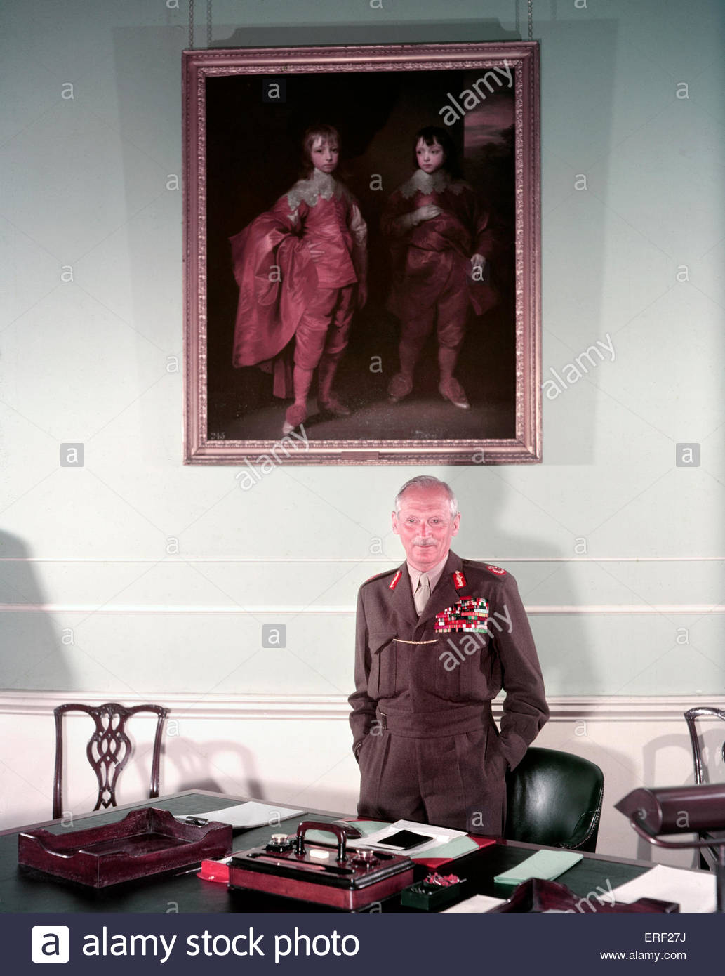 Field Marshal Bernard Law Montgomery, 1st Viscount Montgomery of Alamein at his desk. (Nicknamed 'Monty' - Stock Image