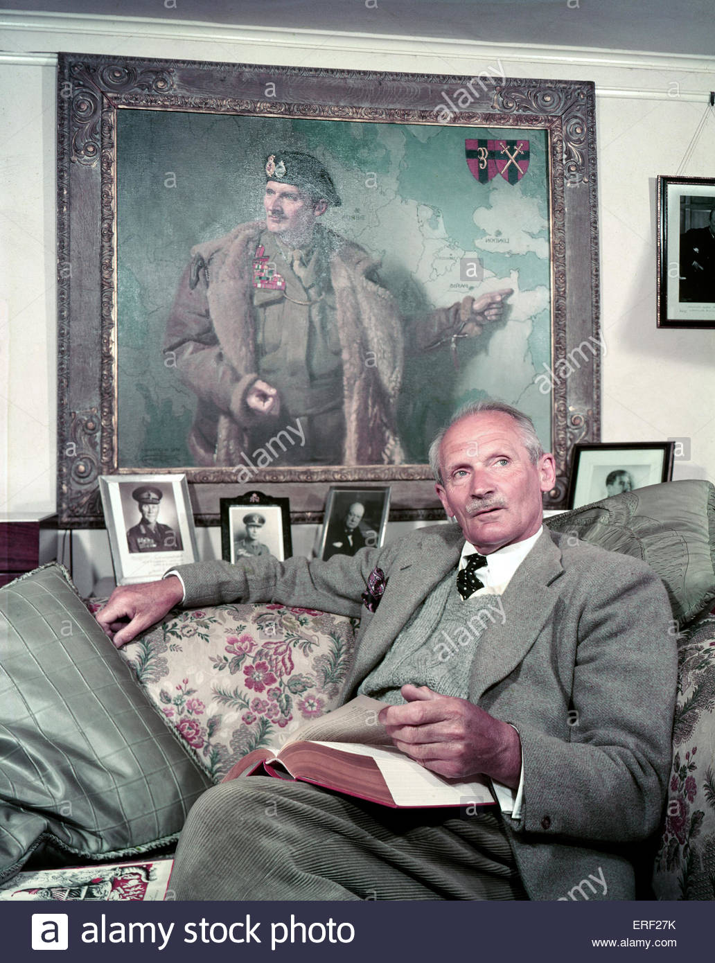 Field Marshal Bernard Law Montgomery, 1st Viscount Montgomery of Alamein at home.. (Nicknamed 'Monty' and - Stock Image