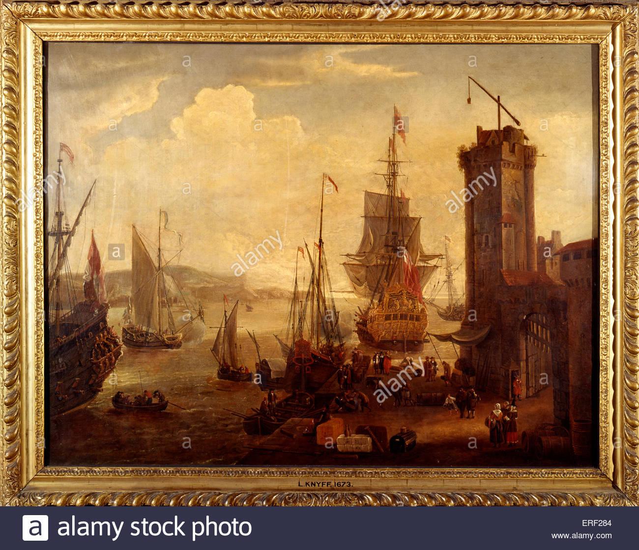 English Port Scene by Leonard Knyff, 1673. Dutch draughtsman and painter, 1650 - 1721. - Stock Image