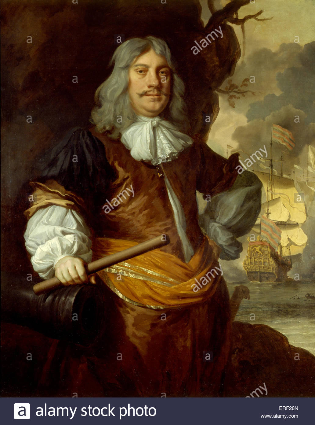 Sir Cornelis Maartenszoon Tromp, 1st Baronet, by Peter Lely, c. 1675. Dutch naval officer who fought in Anglo-Dutch - Stock Image
