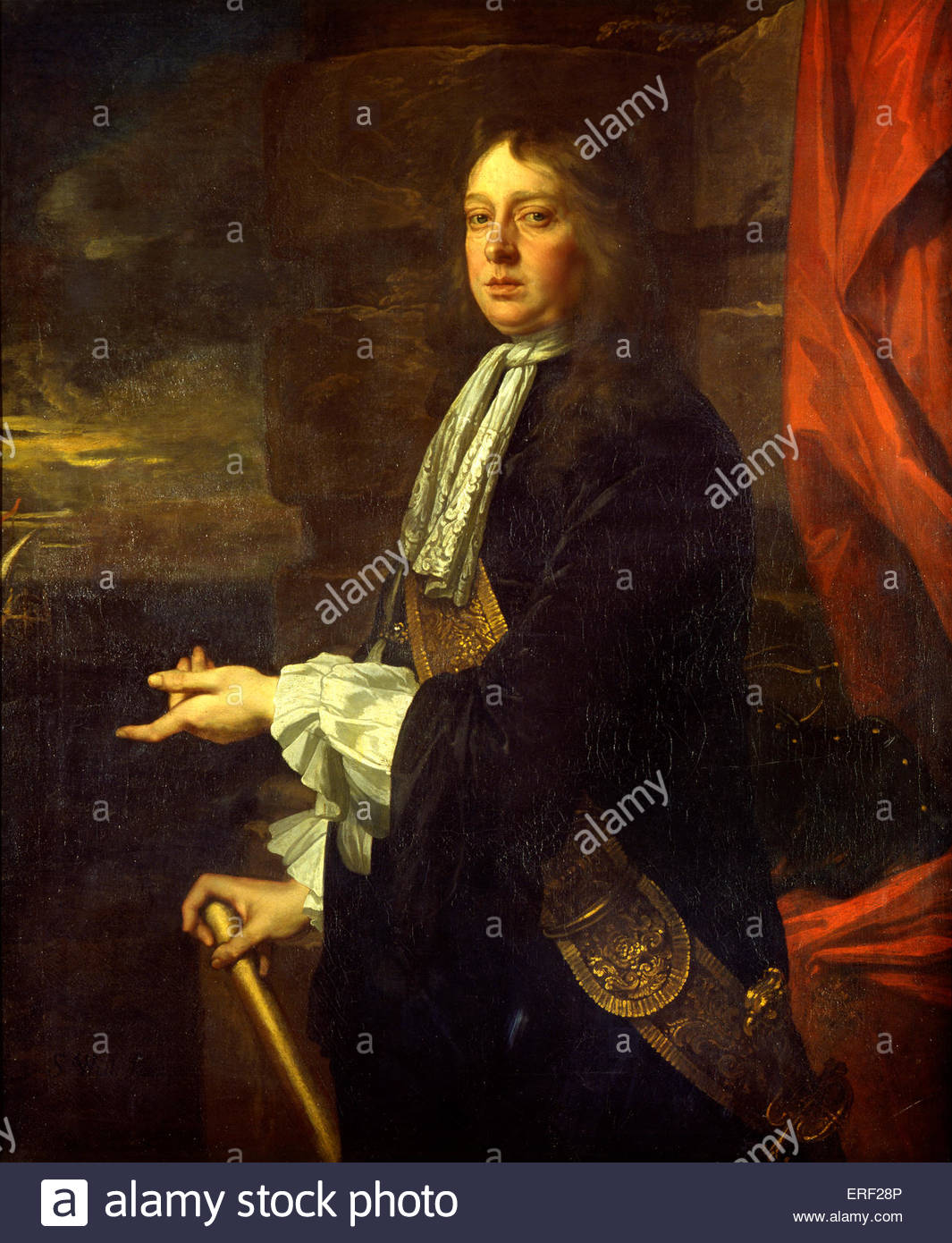 Admiral Sir William Penn by Peter Lely( painted 1665–1666) . English admiral, and the father of William Penn, founder - Stock Image
